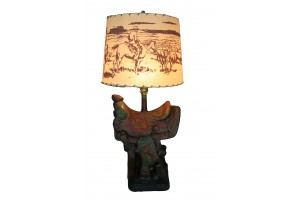 Back in the Saddle Lamp and Shade 1940S Solid Plaster