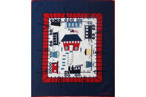 """Local Loco"" in Old Blue-White-Crimson Crib Quilt 42"" x 53"""