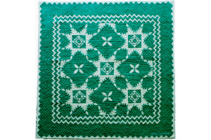 """Feathered Star"" in Spruce-White Cover-Up Quilt 54"" x 54"""
