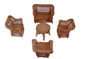 Antique Set of 5 Hand Woven Miniature Wicker Furniture Circa 1920