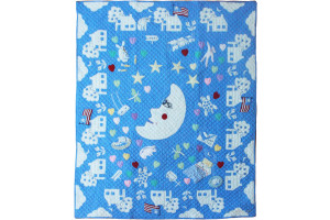 """Mr. Moon"" in Cornflower Crib Quilt 43"" x 56"""