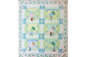 """Katy & Her Neighbors"" Crib Quilt 50"" x 56"""