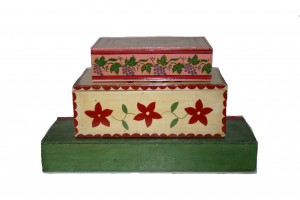 Stacked Amish Hand Painted Boxes 1920s-30s