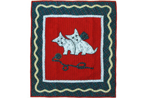 """Westies"" in Crimson-White Crib Quilt 32"" x 39"""