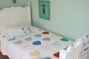 """Multi Heart"" in White-Pink Twin Quilt 64"" x 85"""