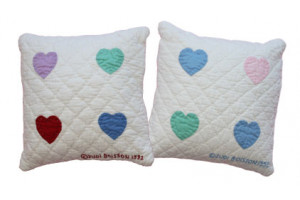 """Mini 4-Heart"" Pillows. 100% cotton."