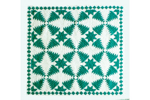 """Pineapple Log Cabin"" in Spruce-White Cover-Up Quilt 54"" x 54"""