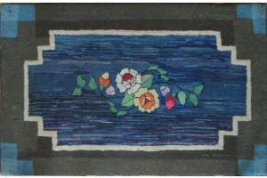 Antique Amish Rug with Roses on Blue & Brown 51 x 32.5