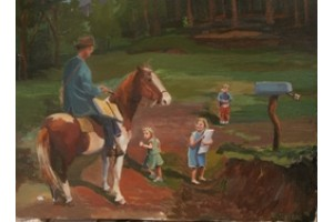 Local Children, and Mailman on Horseback in the Hills of Arkansas 1943 Painted by Alletzhauser. $1,800. 18 X 24