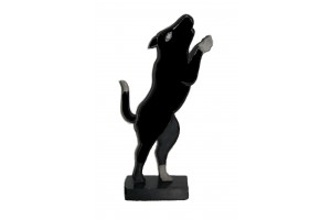 Hand Carved  & Painted Black-white Wooden Hungry Puppy with Stand