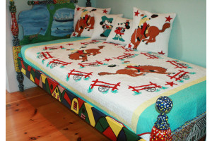 """Bucking Bronco"" in White-Saddle-Aqua Twin Quilt 64"" x 85"""