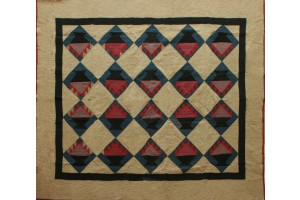 Basket of Chips 67 X 76 in soft Mustard -Red- Raspberry Black on a Blue Grey Diamond Black Inside Border