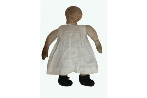 Amish Doll Wearing White Under Garment  and black booties