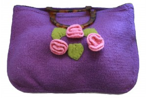 95. Knitting Bag with Roses and Tortus handles Hand Made.JPG