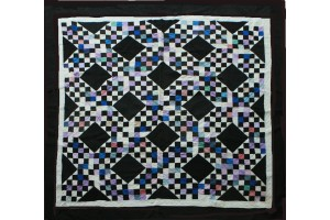 Amish Triple Irish Chain Quilt 73 x 75 Holmes Co. Ohio White inside Border- Berry- Blue- Lavender- Black Background $10,000