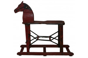 Rocking Horse with Springs Dark Red
