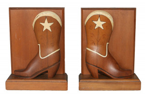 Antique American Folk Art Carved Wooden Boots Book Ends with Ivorine Inlays