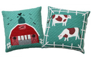 """McDonald's Farm"" in Apple Throw Pillows"