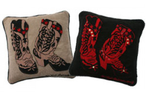 """Boots"" Hand-Hooked Pillows"