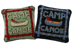 """Camp Canoe"" Hand-Hooked Pillows"