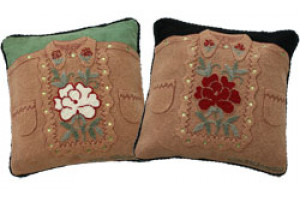 """Cowgirl Shirt"" Hand-Hooked Pillows"