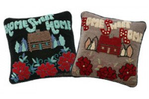 """Home Sweet Home"" Hand-Hooked Pillows"