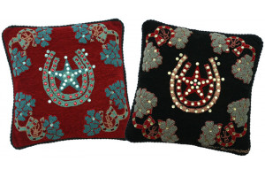 """Horseshoes"" Hand-Hooked Pillows"