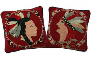 """Indian"" in Crimson Hand-Hooked Pillows"