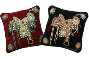 """Saddle"" Hand-Hooked Pillows"