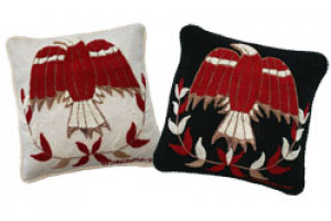 """Thunderbird"" Hand-Hooked Pillows"
