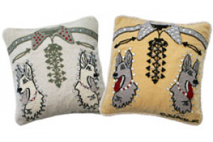 """Twin Dogs Shirt"" Hand-Hooked Pillows"