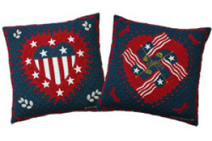 """Liberty Heart"" in Old Blue-Red Throw Pillows"
