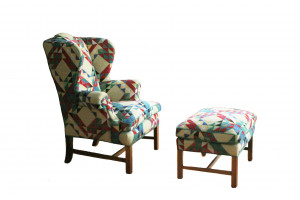 """Ocean Waves"" in Banana Wing-Back Chair & Ottoman"