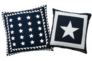 Patriotic 20 Star & Lone Star in Navy-White Throw Pillows