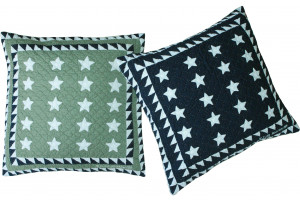 """Patriotic Mini 20 Star"" in Sage & Navy Throw Pillows"