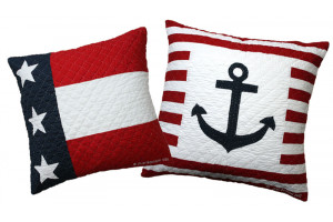 """Patriotic Flag"" & ""Anchor"" Throw Pillows"