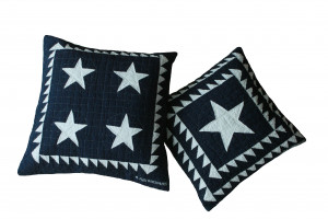 Patriotic 4 Star & Lone Star in Navy-White Throw Pillows