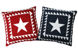 """Patriotic Star with Double Sawtooth Border"" Pillows. 100% cotton."