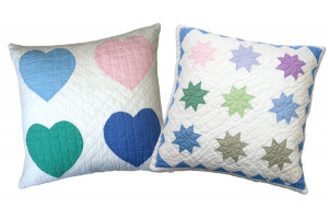 """Multi Heart"" & ""Pastel Twinkle Star"" Pillows. 100% cotton."