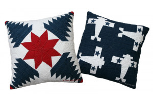 """Pineapple Log Cabin"" & ""4 Planes"" in Old Blue-White Throw Pillows"
