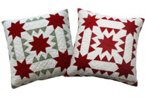 """Sawtooth with Stars"" in Red-White Throw Pillows"