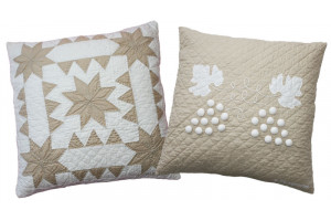 """Sawtooth with Stars"" & ""Grape Cluster"" in Champagne-White Throw Pillows"
