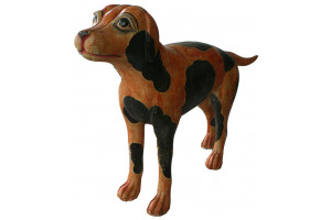 American Folk Art Hand Painted & Hand Carved Spotted Dog