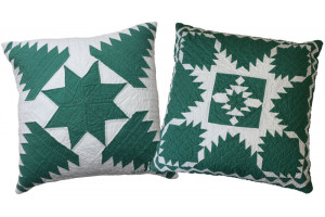 """Pineapple Log Cabin"" & ""Feathered Star"" in Spruce-White Throw Pillows"