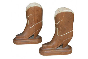 Pair of Texas Folk Art Wooden Boots Match or Toothpick Holders
