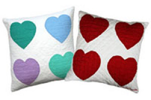 """4 Hearts"" Pillows. 100% cotton."