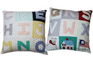"""Alphabet 9 Block"" Pillows. 100% cotton."