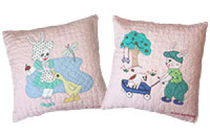 """Bunny Family"" Pillows. 100% cotton."