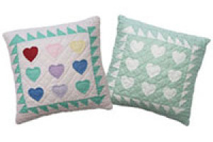 """Mini 9-Heart"" Pillows. 100% cotton."