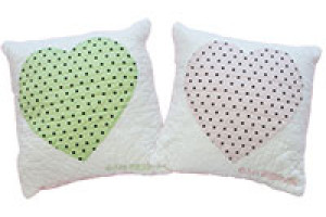 """Polka Dot Baby Heart"" Pillows. 100% cotton."